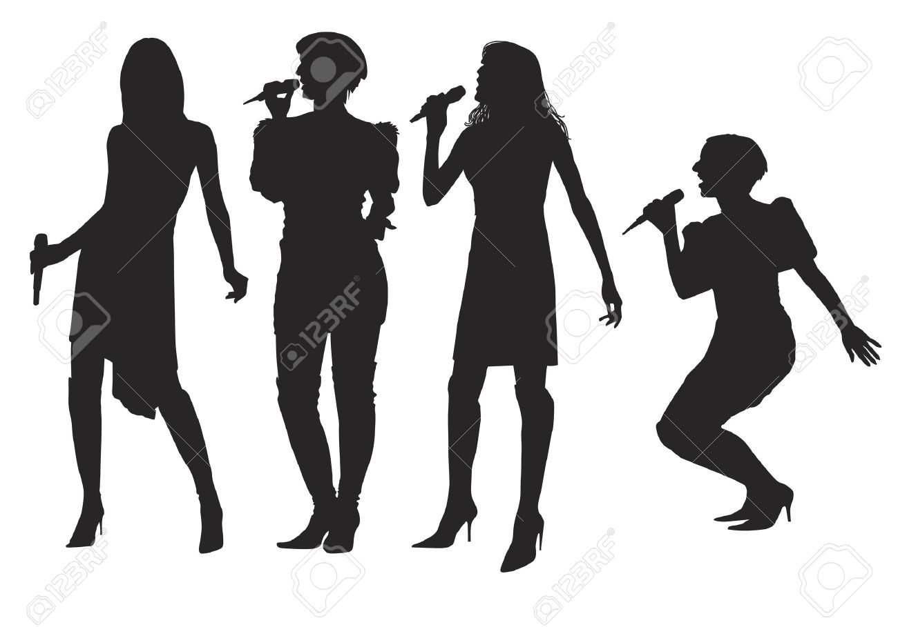 1300x909 Girl Singing Silhouette Clipart