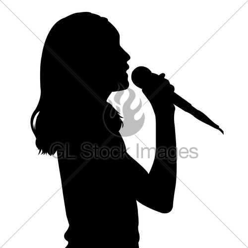 500x500 Girl Singing Silhouette Gl Stock Images