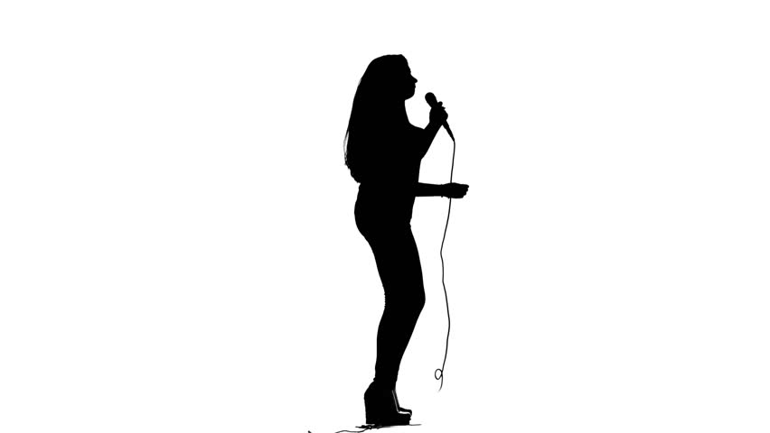 852x480 Girl Sings Incendiary Songs. White Background. Silhouette. Side