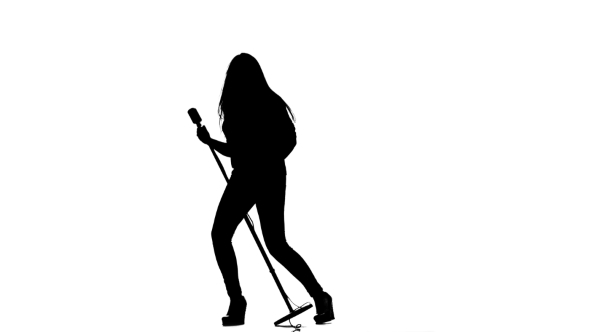 590x332 Girl Sings In A Retro Rock Song Microphone. White Background