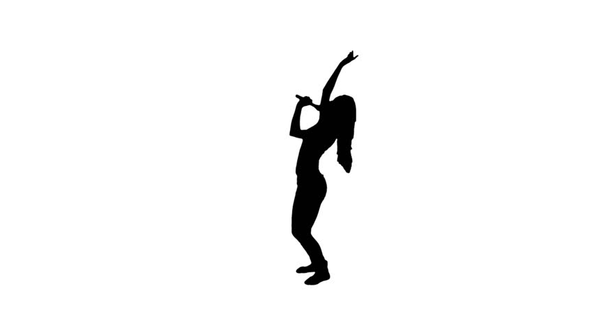 852x480 Black Silhouette Of Young Girl Singing Stock Footage Video