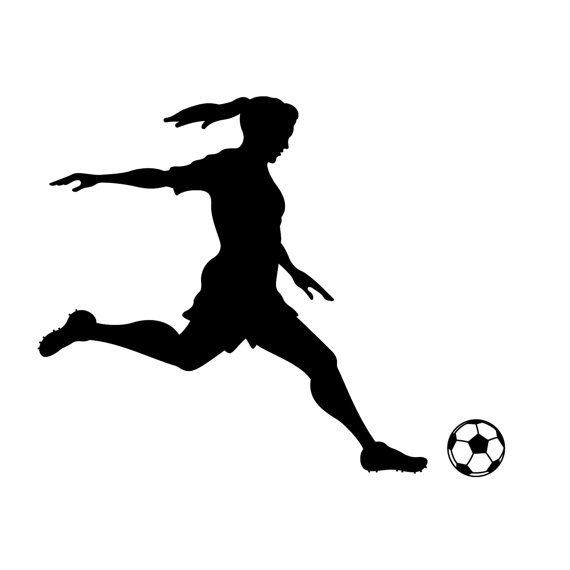 570x570 Girl Soccer Player Kicking Silhouette Sports