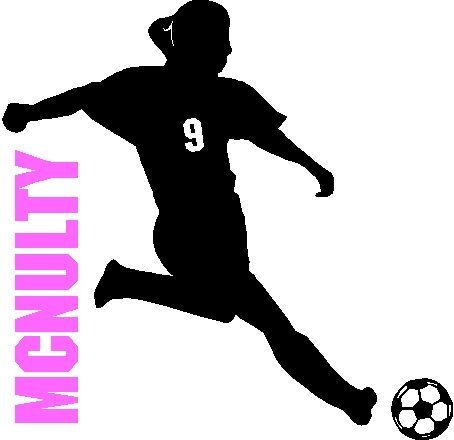 454x440 Soccer Girl With Custom Name Number Soccer Wall Decal Removable