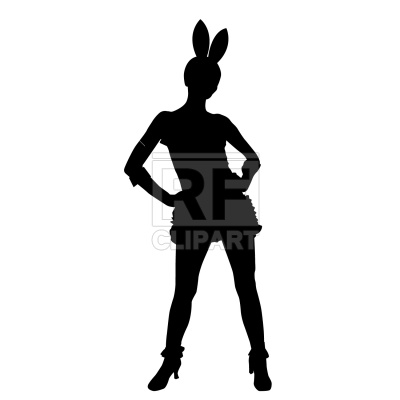 400x400 Bunny Girl Silhouette Royalty Free Vector Clip Art Image