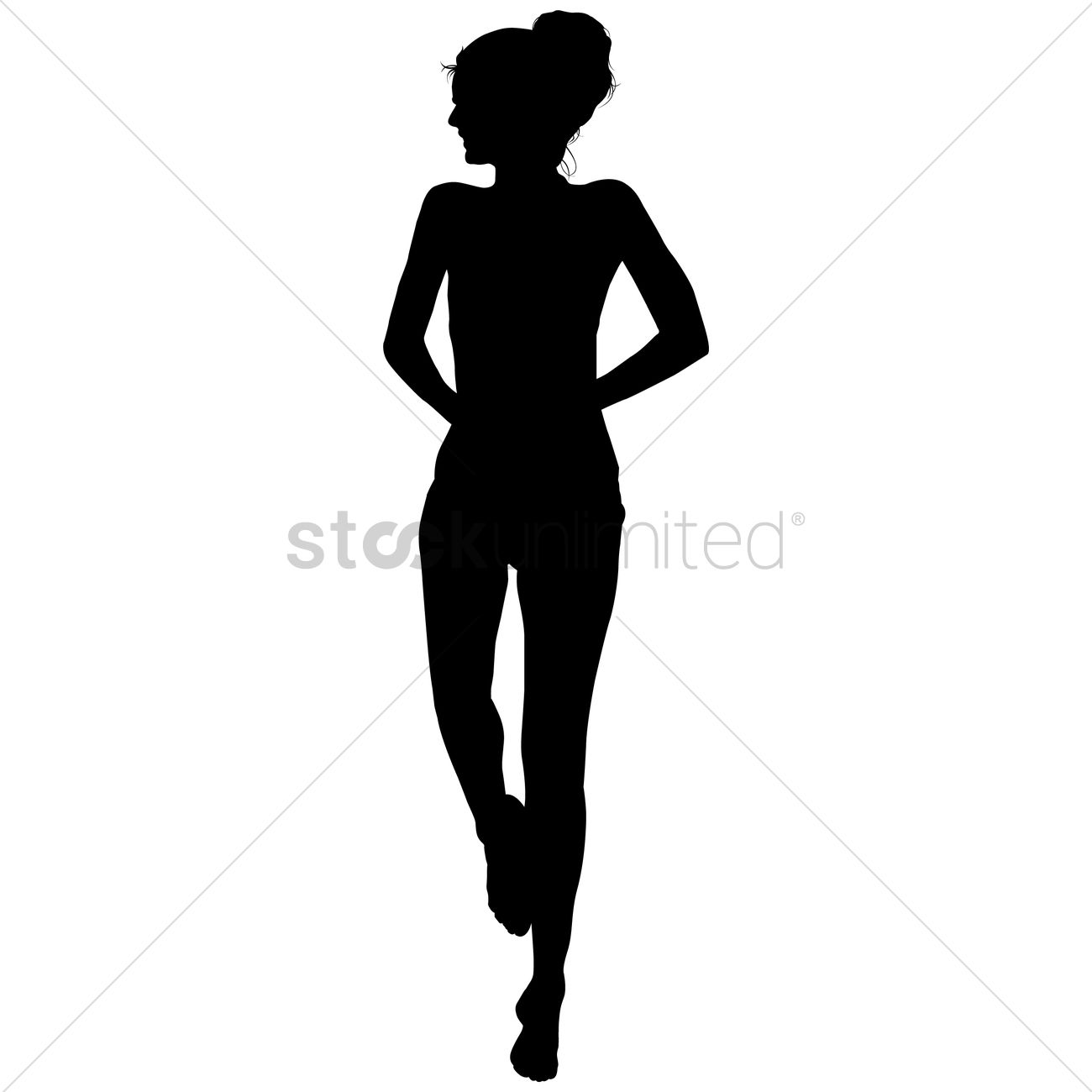 1300x1300 Silhouette Of A Girl Standing Vector Image
