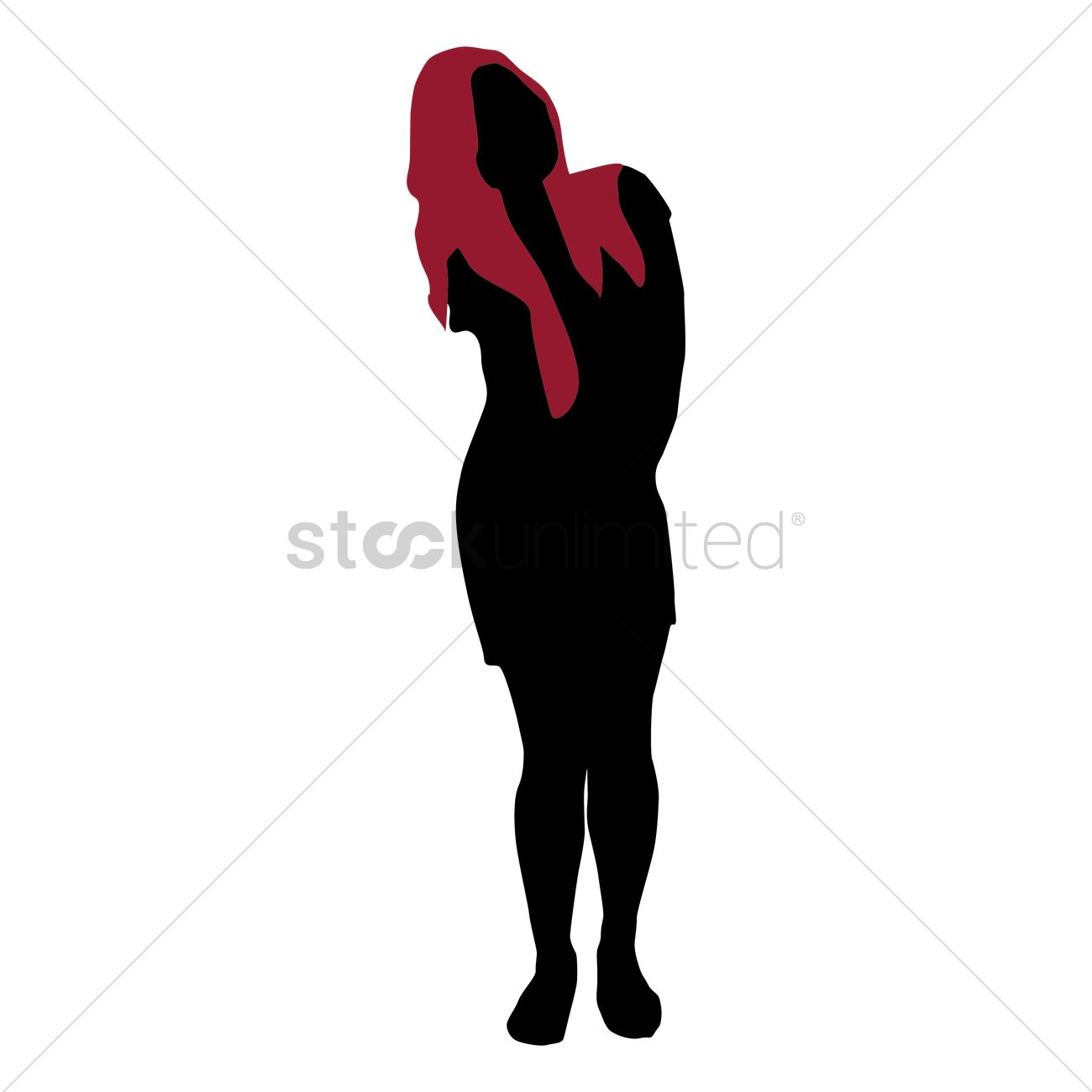 1300x1300 Silhouette Of Girl Standing Vector Image