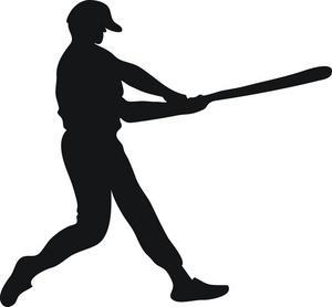 300x278 Baseball Player Swinging Bat Clip Art