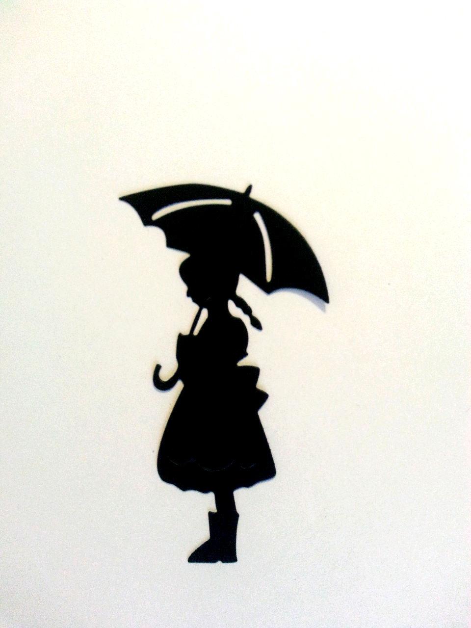 960x1280 Little Girl Under Umbrella Paper Die Cuts Scrapbook, Cupcakes