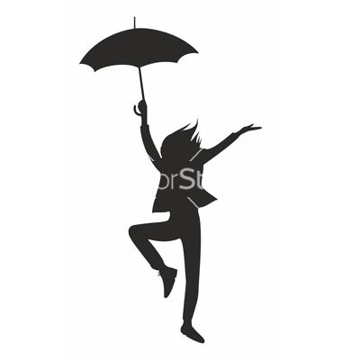 380x400 Clip Art Person Holding Umbrella Outline Clipart