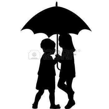350x350 Deux Petites Filles Sous Un Parapluie Photo Pochoir Silhouette