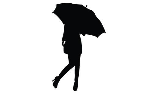 480x309 Girl Umbrella Silhouette Vector Silhouettes Vector