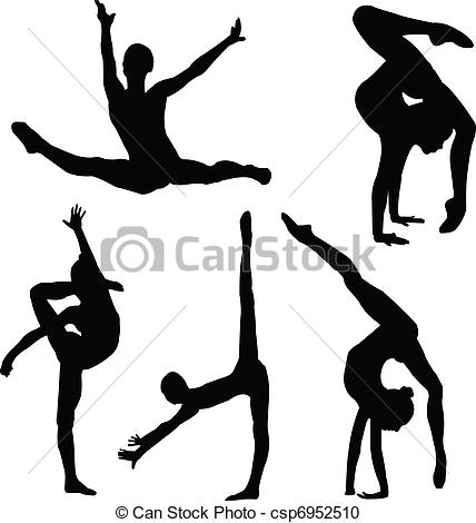 428x470 Illustration Of Gymnastics Girl Silhouette Collection Vector