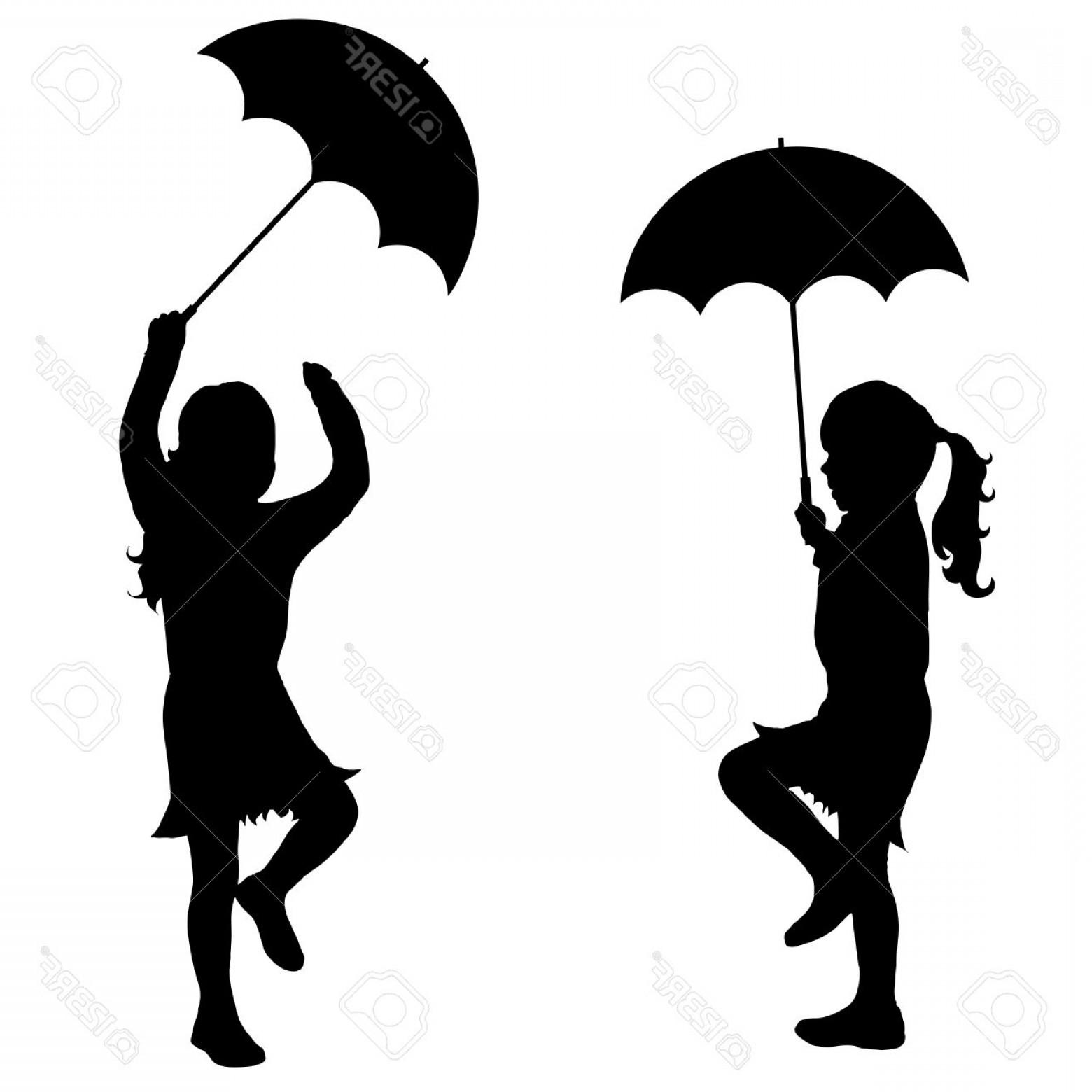 1560x1560 Photostock Vector Black Vector Silhouette Of Girl With Umbrella