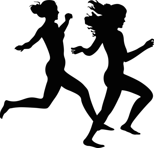 500x480 Running Girl Design Vector Silhouettes Graphics Free Vector