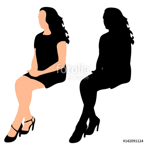 500x496 Silhouette Of A Girl Sideways Sitting Vector, Isolated Stock