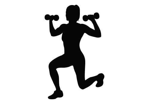 500x350 Fitness Girl Silhouette Clipart