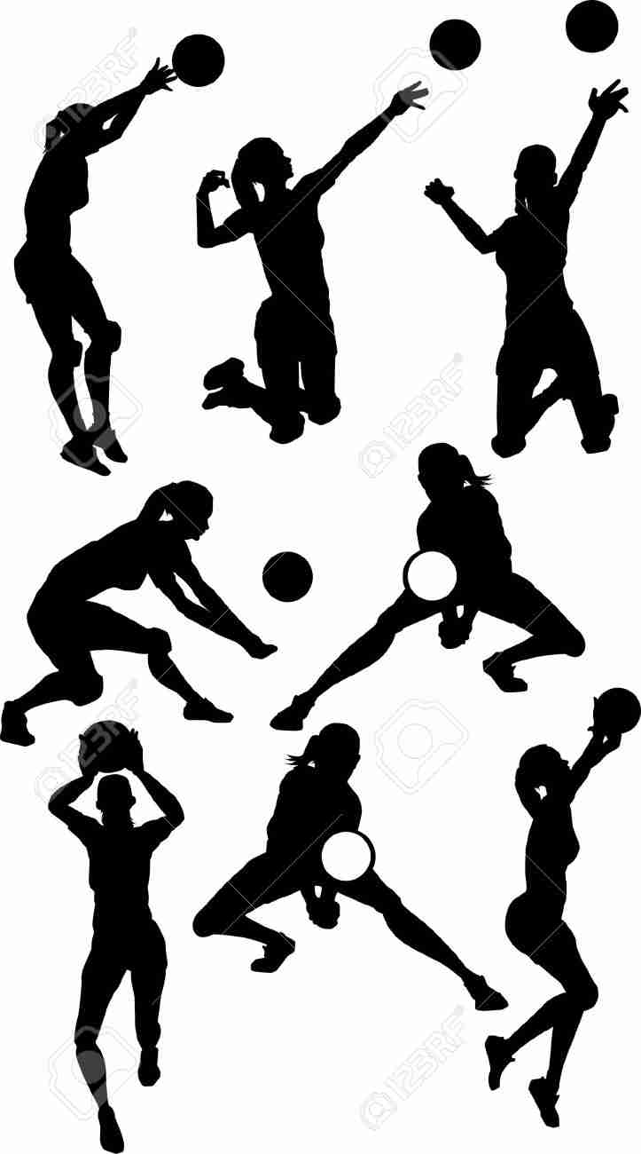 723x1300 Volleyball Male Silhouettes In Athletic Poses Stock Vector Art