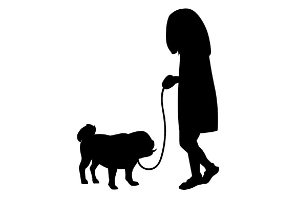 580x386 Little Girl Walking Dog Svg Cut File By Creative Fabrica Crafts