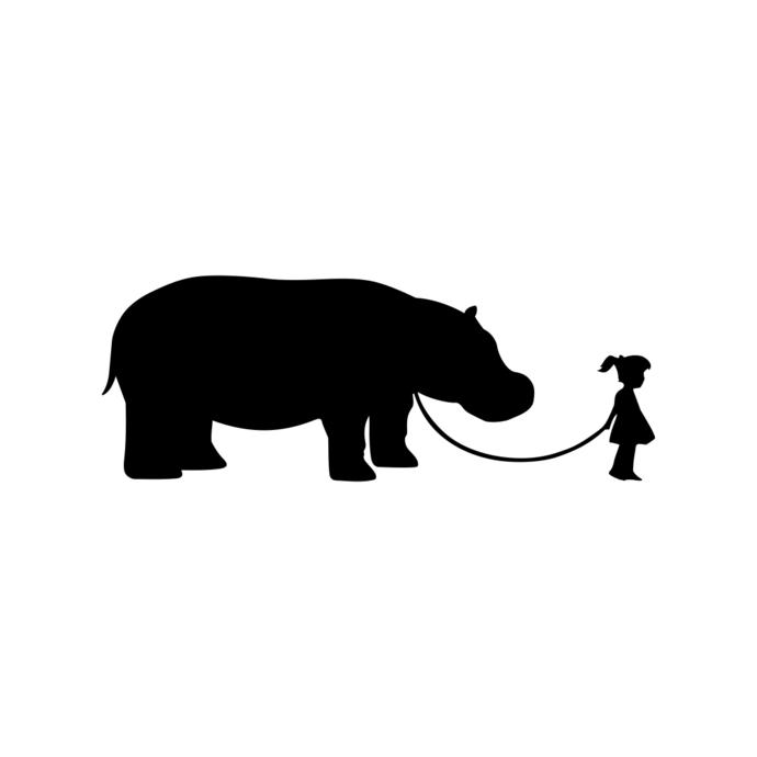 690x690 Girl Walking A Hippopotamus Graphics Design By Vectordesign On Zibbet