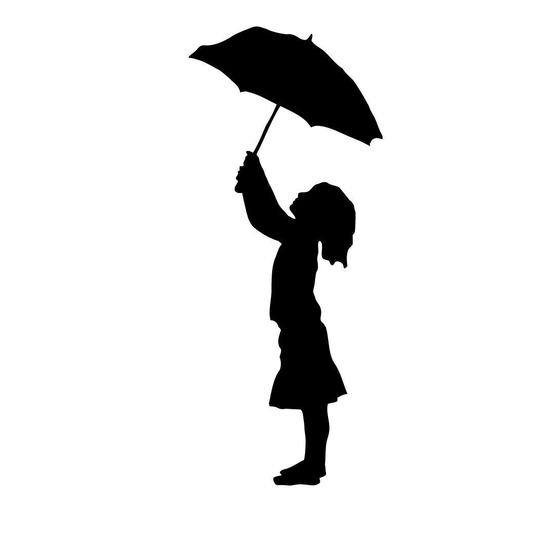 1042x1042 Umbrella In The Rain Silhouette