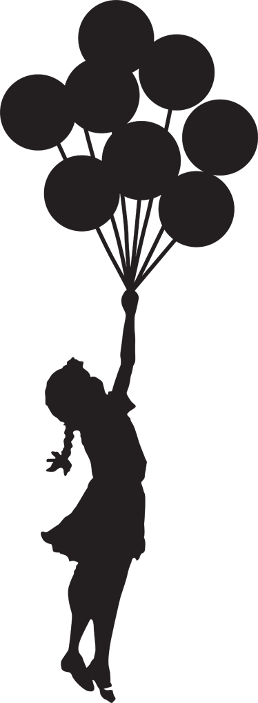 374x1017 Girl with Balloons Banksy Laptop Sticker