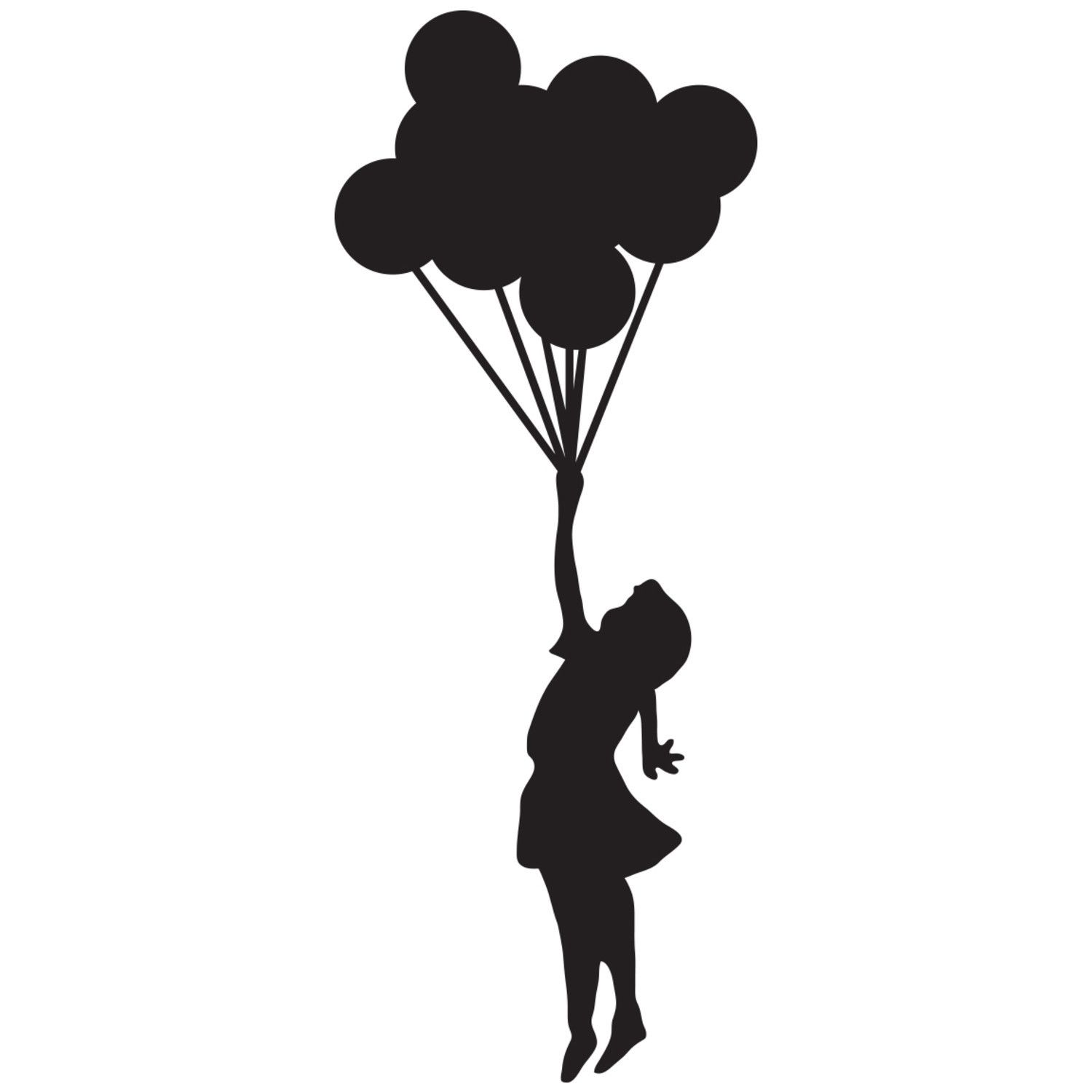 1500x1500 Umbrella and Silhouettes girl holding balloons silhouette Car