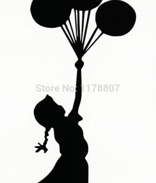 510x600 Flying Balloons Girl Vinyl Decal Car Window Bumper Sticker Banksy