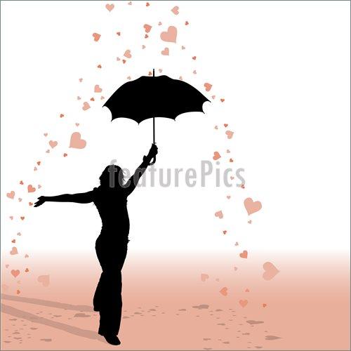 500x500 In Rain With Umbrella Silhouette