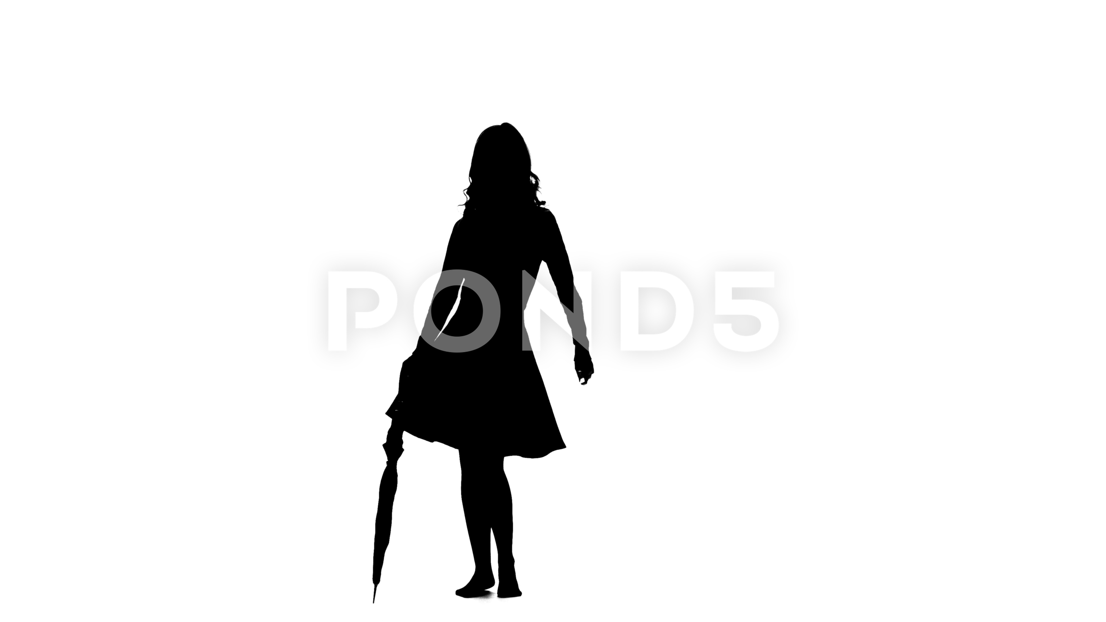 3840x2160 Girl with an umbrella in her hands is dancing. White background