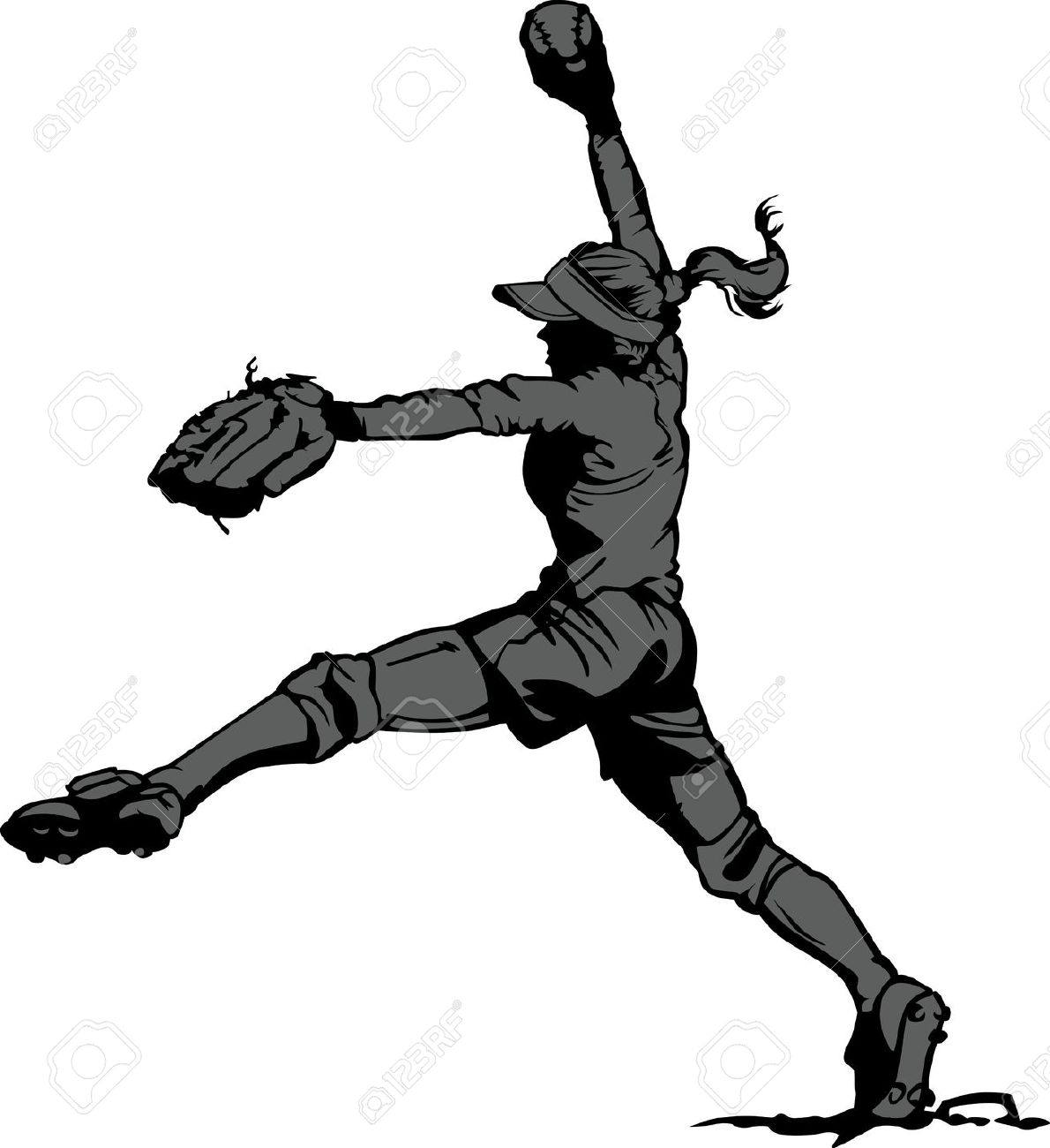 1190x1300 Free Clipart Of Girls Fastpitch Softball