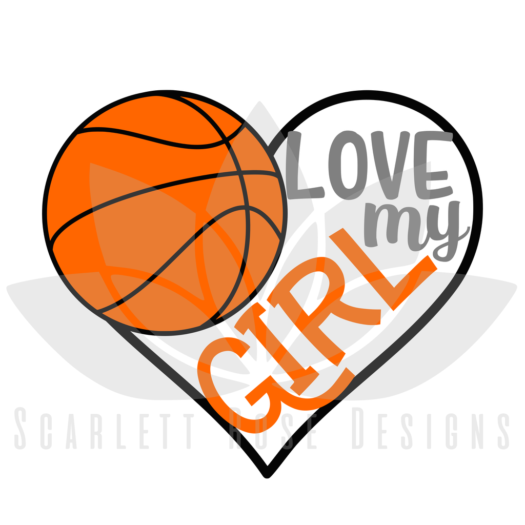 1024x1024 Basketball Sports Svg Cut File, Love My Girl Basketball Heart, Png