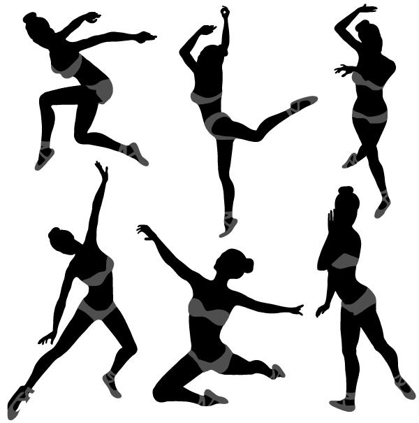 600x605 Vector Dancing Girl Silhouettes Illustrator Download Free Vector