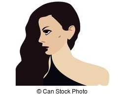 254x194 Silhouette Of A Beautiful Woman With Long Hair. Vector Vector