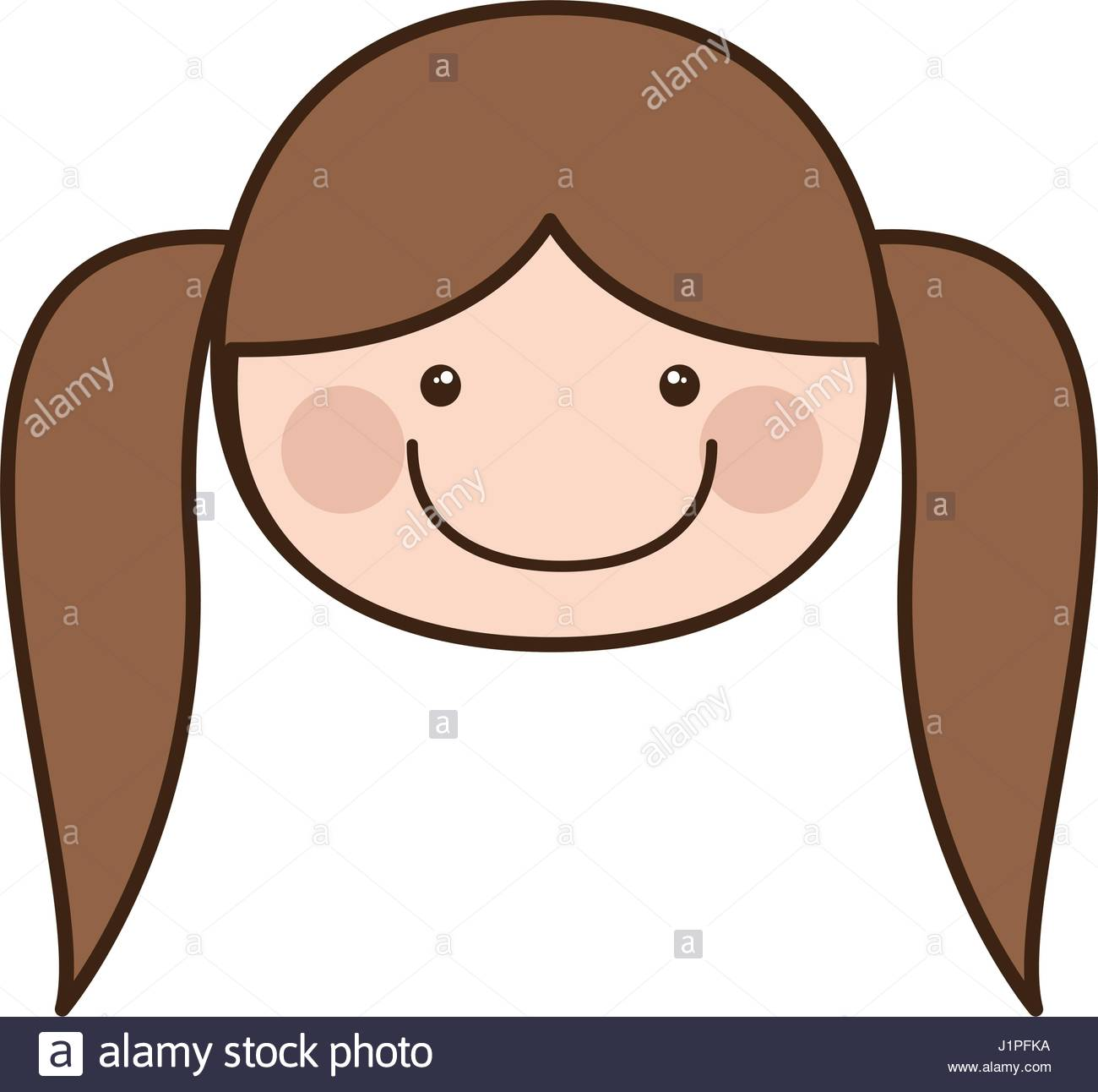 1300x1292 Color Silhouette Cartoon Front Face Girl With Pigtail Hair Stock