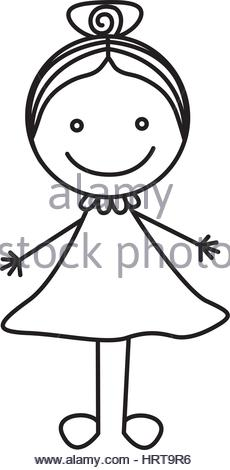 230x470 Silhouette Hand Drawing Cute Girl With Dress Stock Vector Art