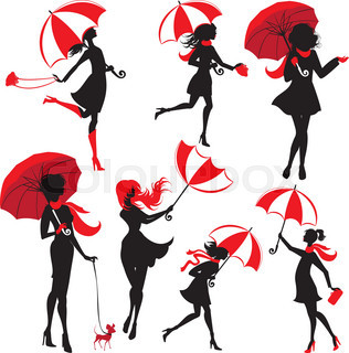 316x320 Beautiful Young Girl Face Silhouette With Black Umbrella On Rainy