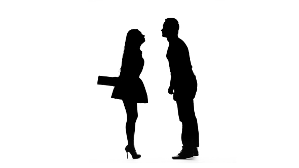 590x332 Girl Gives A Gift To Her Beloved Guy. Silhouette. White Background