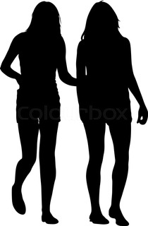 210x320 Silhouette Of Two Walking Girls Holding Hands