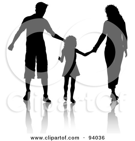 450x470 Clipart Illustration Of Silhouetted Girl Holding Hands