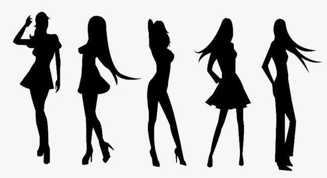 650x354 Girls Silhouette Material, Cartoon Girl, Shadow Png And Psd File