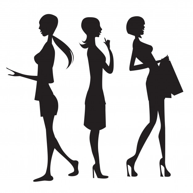 626x626 Three Fashion Girls Silhouettes Vector Free Download