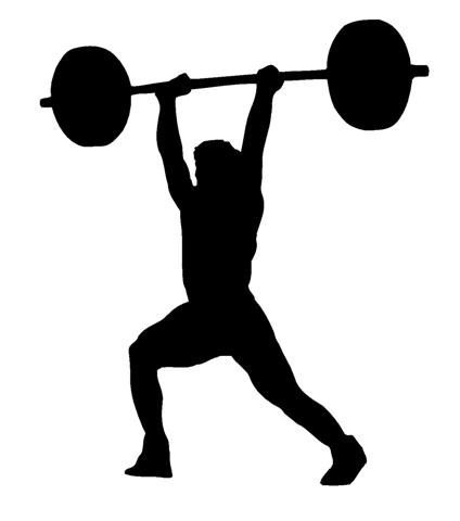 424x480 Silhouette Lifting Weights Clipart
