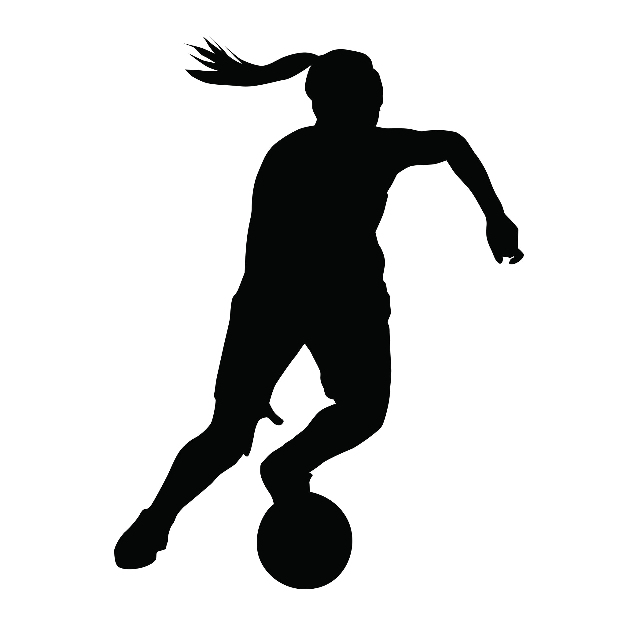 2048x2048 Girl Playing Soccer Silhouette