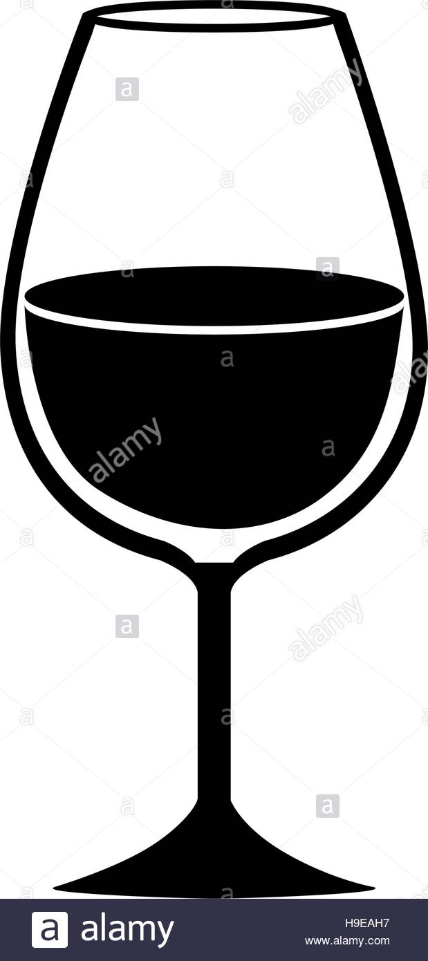 619x1390 Silhouette Monochrome With Glass Of Champagne Sour Vector Stock