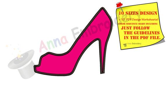 570x291 Princess Shoe Applique Design,princess Slipper Machine Embroidery