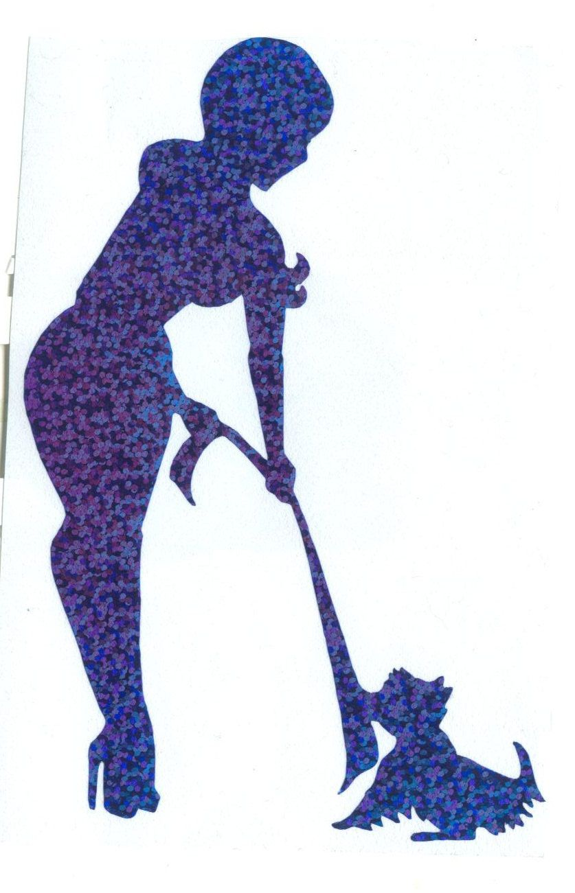 837x1301 Yorkie And Pin Up Silhouette Silver Glitter Vinyl By Dangersjones