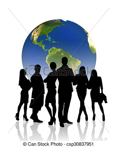 375x470 People Silhouettes In Front Of The Globe. Silhouettes Of Stock