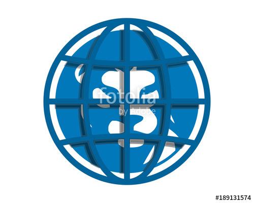 500x400 Blue Globe Lion Head Silhouette Image Vector Icon Logo Stock