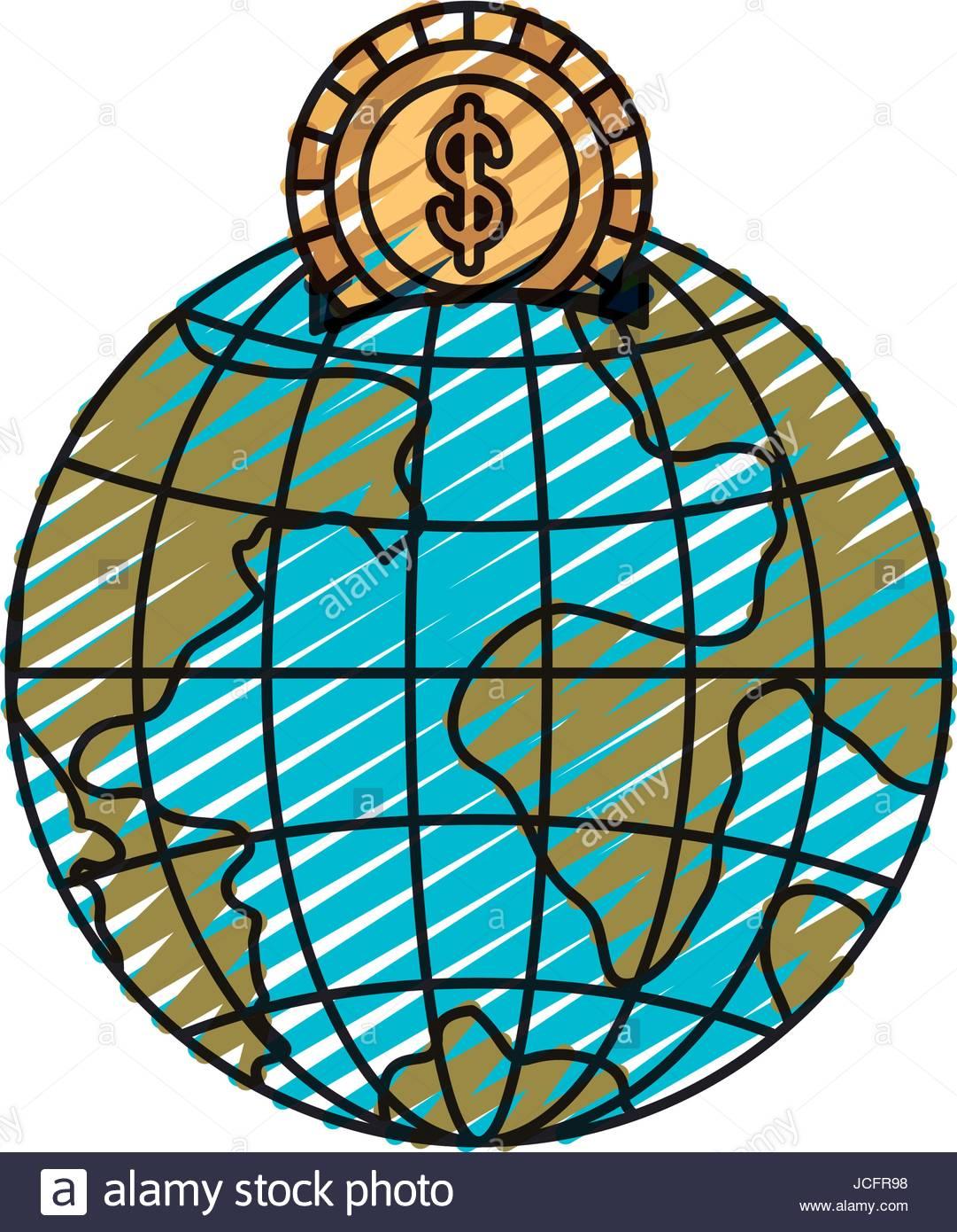 1081x1390 Color Crayon Silhouette Money Box In Globe Earth World Shape