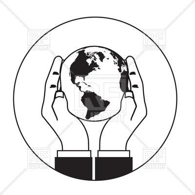 400x400 Hands Gently Holding Globe Icon Royalty Free Vector Clip Art Image